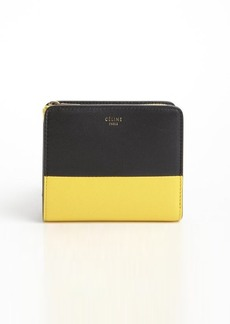 Celine black and yellow zip top tri-fold leather wallet