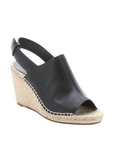 Celine black leather and jute slingback wedge sandals