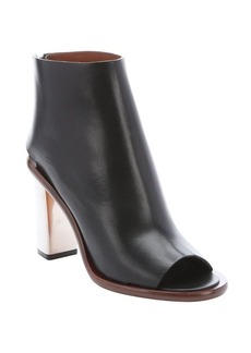 Celine black leather metal heel ankle booties