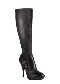 Celine black leather monk strap platform boots