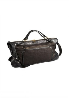 Celine black washed leather convertible top handle bag