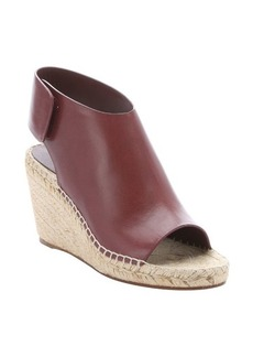 Celine bordeaux leather and jute wedge sandals