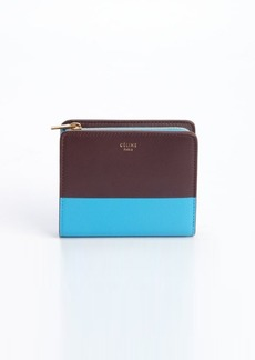 Celine brown and blue zip top tri-fold leather wallet