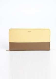 Celine butter and sage leather colorblock zip continental wallet