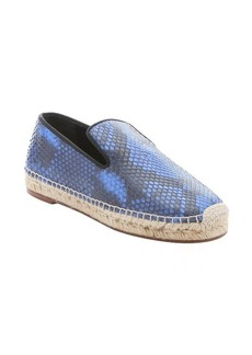 Celine cobalt blue and black python slip-on espadrilles