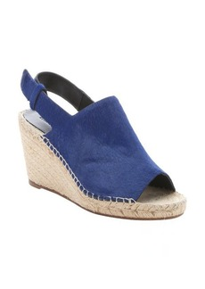Celine indigo calf hair slingback wedge sandals