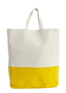 Celine ivory and yellow leather colorblock tote
