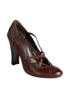 Celine mahogany leather tooled strappy pumps