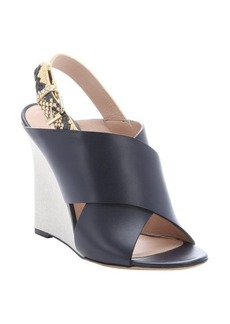 Celine navy calfskin and yellow python slingback wedges