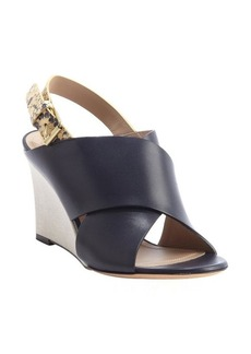 Celine navy leather and snakeskin wedge sandals