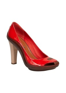 Celine paprika patent leather cutout pumps