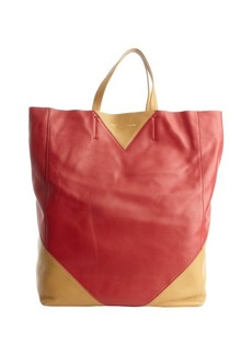 Celine red and camel colorblock leather tote bag