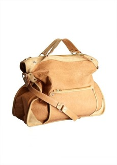 Celine tan leather and suede large convertible top handle bag