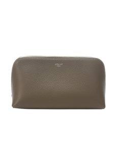 Celine taupe calfskin cosmetic zip pouch