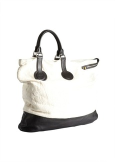 Celine white canvas and black large asymmetrical folded tote bag