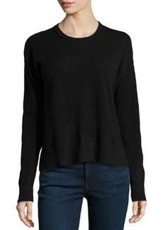 Central Park West Cashmere Boxy Crew-Neck Sweater, Mykonos Blue