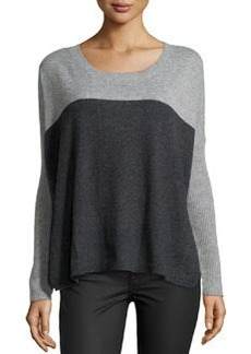 Central Park West Cashmere Colorblock Knit Sweater, Charcoal/Gray