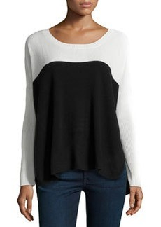 Central Park West Cashmere Colorblock Knit Sweater, Ivory/Black