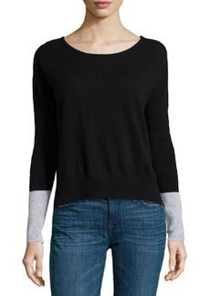 Central Park West Cashmere Colorblock Sweater, Black/Heather Gray