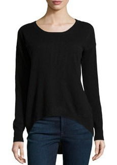 Central Park West Cashmere Pintucked-Back Sweater, Black