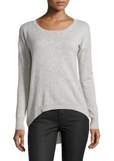 Central Park West Cashmere Pleat-Back Sweater, Heather Gray