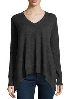 Central Park West Cashmere V-Neck Handkerchief Sweater