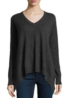 Central Park West Cashmere V-Neck Handkerchief Sweater, Charcoal