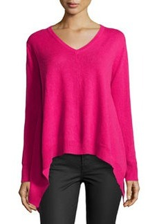 Central Park West Cashmere V-Neck Handkerchief Sweater, Lipstick
