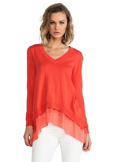Central Park West Chile Layered V-Neck Sweater in Orange