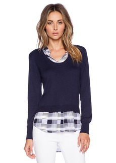 Central Park West Collared Pullover Sweater