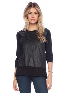 Central Park West Gansevoort Faux Leather Front Top