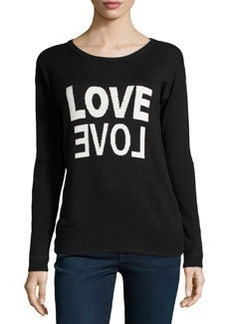 Central Park West Long-Sleeve Love Knit Sweater, Black/White