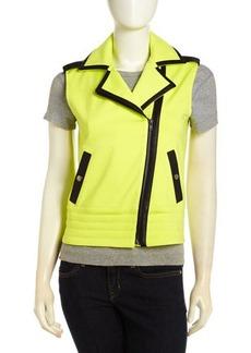 Central Park West Moto Vest with Faux Leather Trim