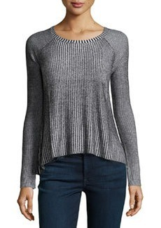 Central Park West Pullover Ribbed Sweater, Black/White