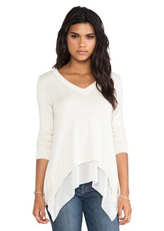 Central Park West Rye V Neck Sweater in Cream