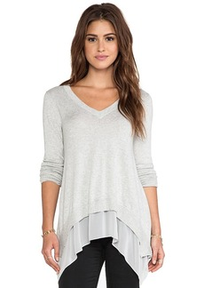 Central Park West Rye V Neck Sweater in Gray