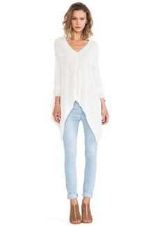 Central Park West Santiago Asymmetric Hem Sweater in Ivory