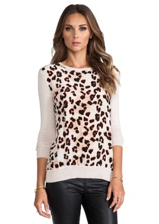 Central Park West Silk Animal Print Sweater