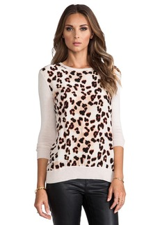 Central Park West Silk Animal Print Sweater in Cream