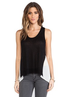 Central Park West St. Petersburg Sheer Panel Tank in Black & White
