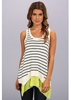 Central Park West Stripe Tank With Sheer
