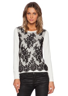 Central Park West Vinegar Hill Lace Overlay Sweater