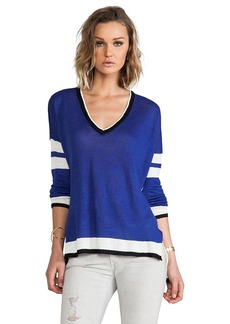 Central Park West Zanzibar Color Block Sweater in Navy