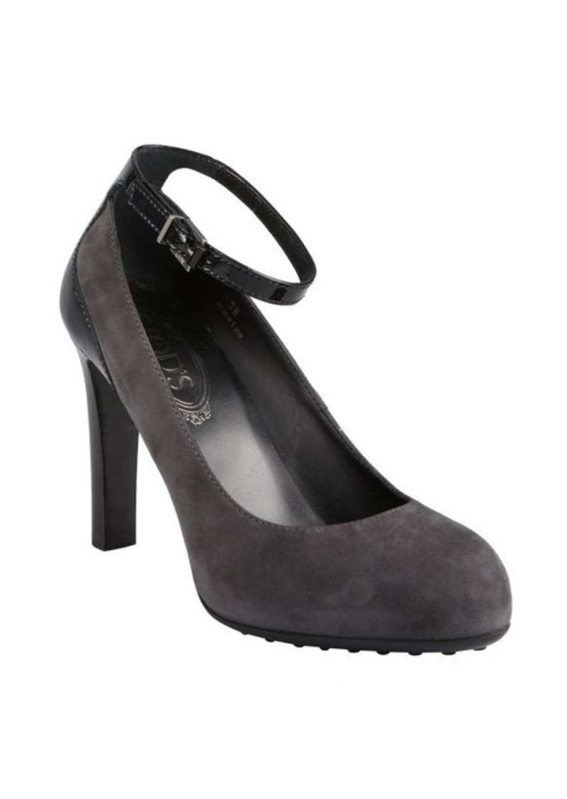Tod's charcoal suede and patent ankle strap pumps