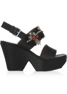 Marni Crystal-embellished satin platform sandals