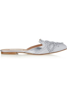 Oscar de la Renta Spanish Mule embellished canvas and leather slippers