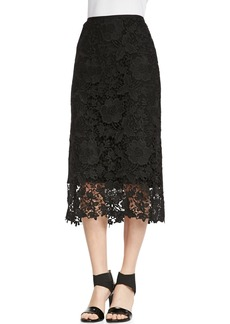 Lafayette 148 New York Maura Over-the-Knee Lace Skirt, Black