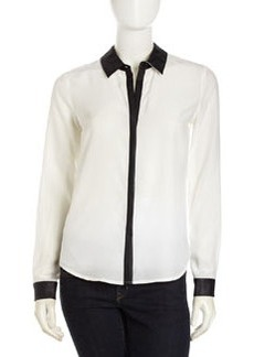 Central Park West Silk Contrast-Trim Blouse, White/Black