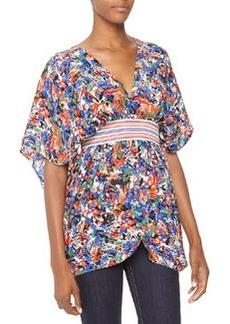M Missoni Urban-Print Kimono Crepe Tunic, Cobalt