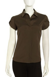 Lafayette 148 New York Sharon Tulip-Sleeve Blouse, Vine